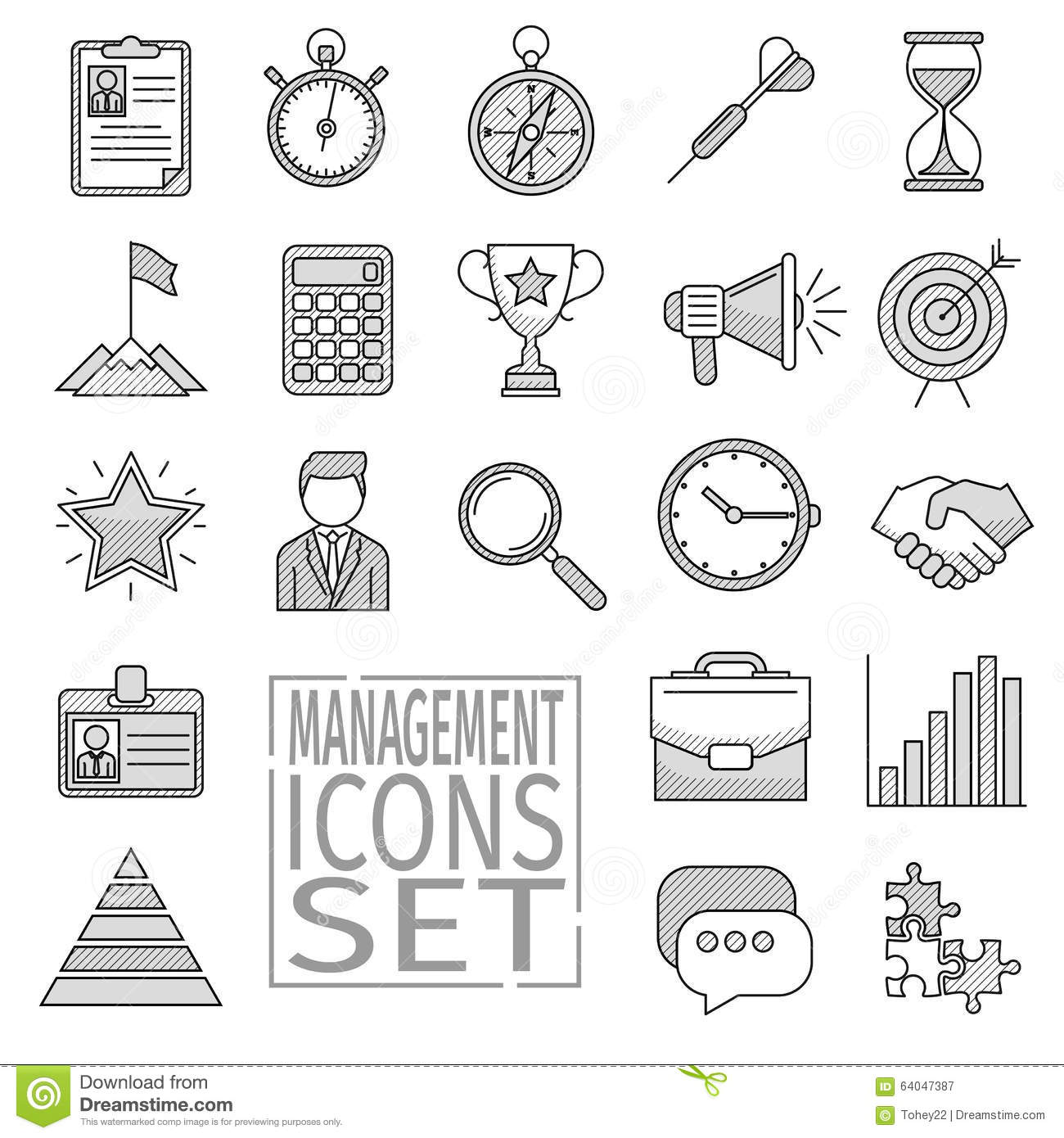 Line Art Jobs : Management line icons stock vector image