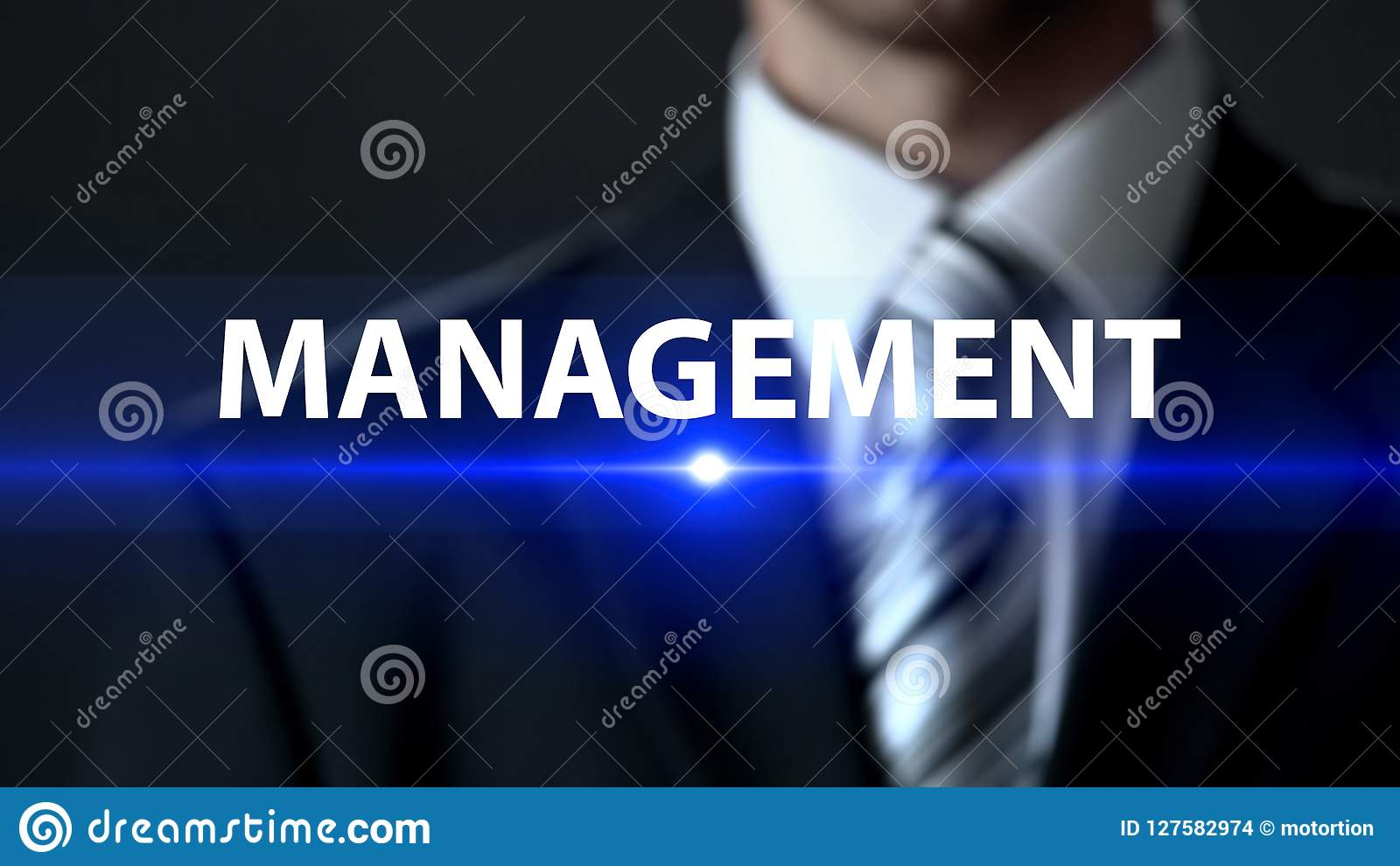 Management, male in suit standing in front of screen, business strategy, company