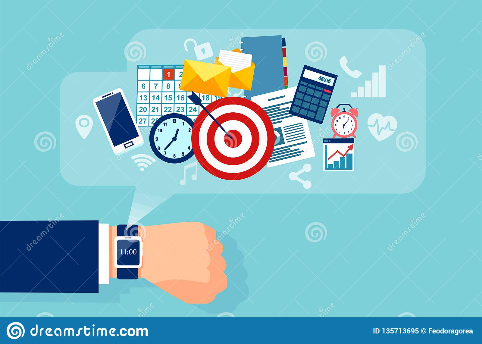 Vector of a businessman hand with smart watch for effiecient succesful and profitable business