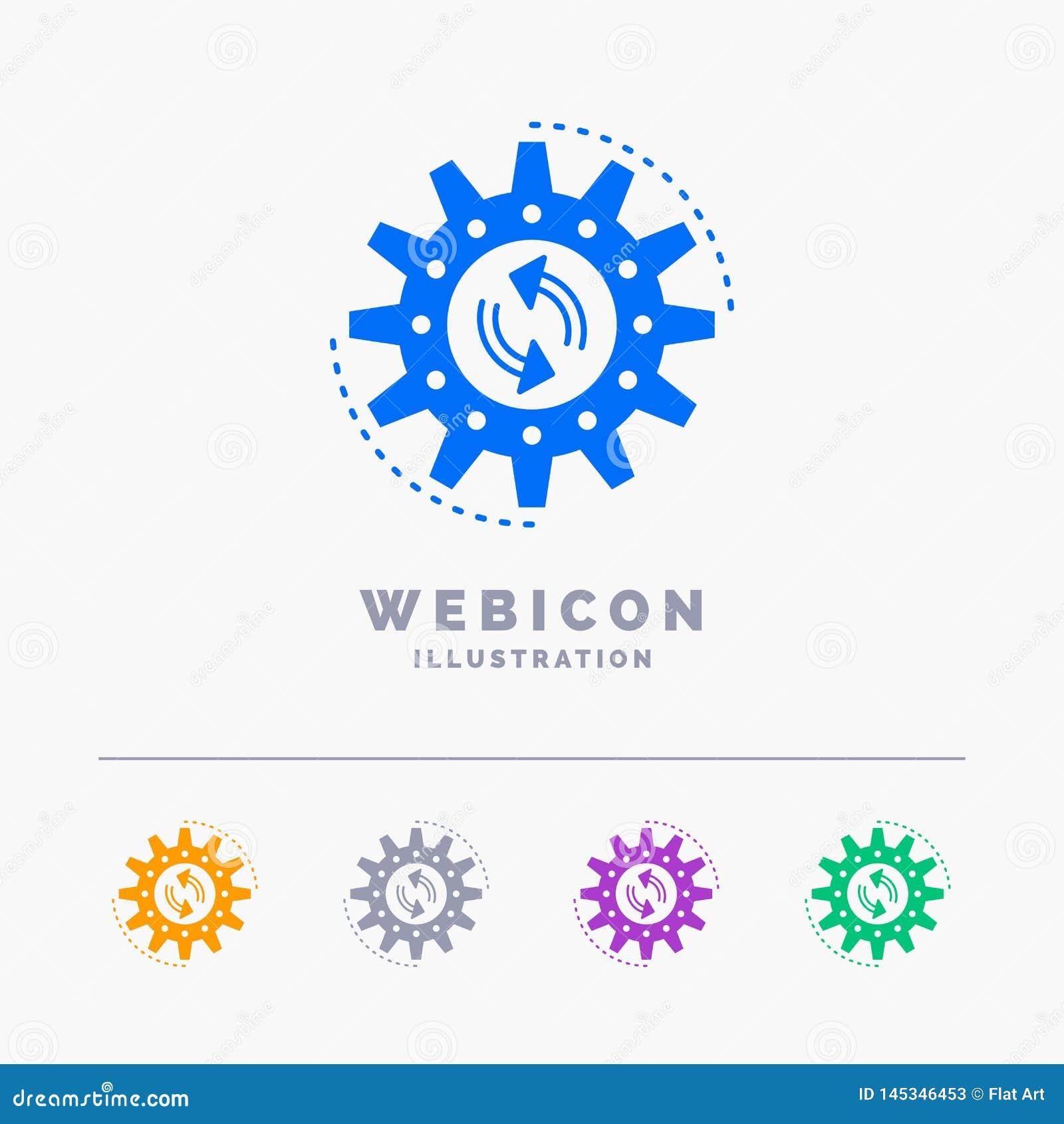 Management, Prozess, Produktion, Aufgabe, Arbeit 5 Farbeglyph-Netz-Ikonen-Schablone lokalisiert auf Weiß Auch im corel abgehobene