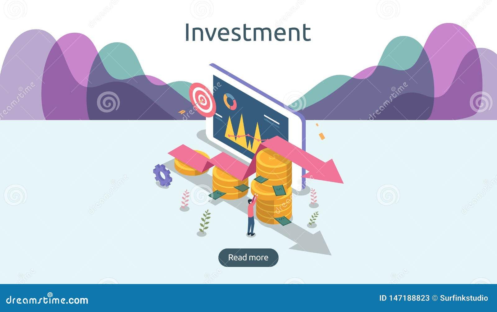 management or return on investment concept. online business strategic for financial analysis. isometric design vector illustration