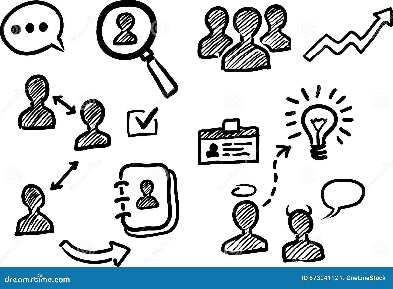 Management- und Personalwesengekritzelikonen
