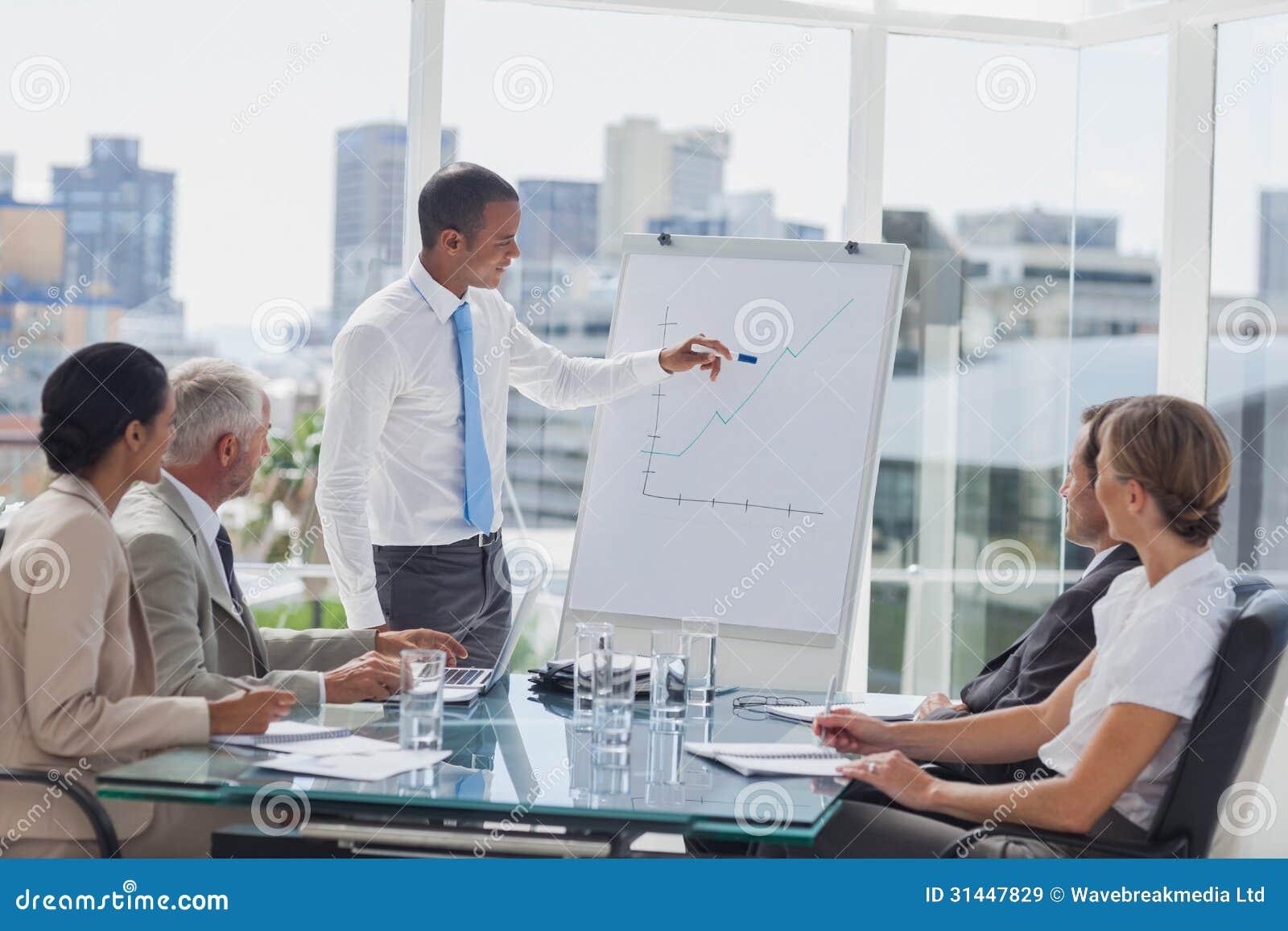 Manager die op de piek van een grafiek tijdens een vergadering richten