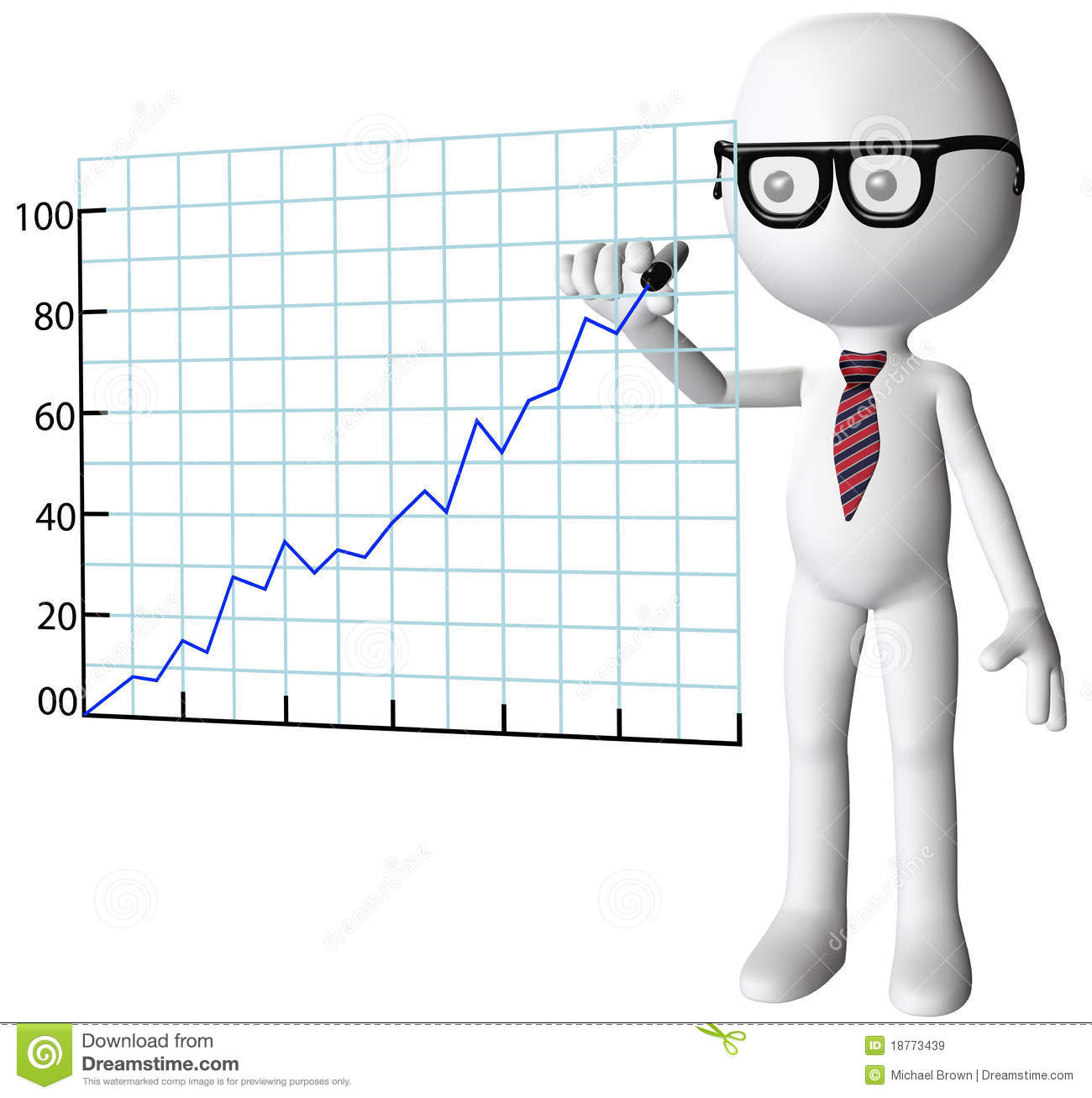Manager Drawing Company Growth Success Chart Stock Illustration