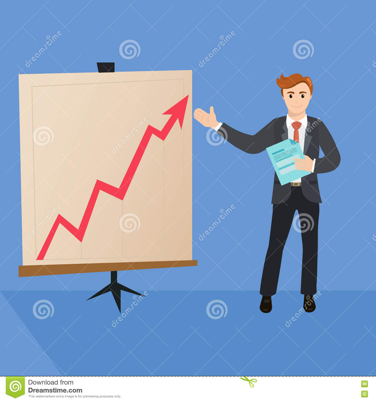 377600dd43f8 Handsome manager in formal suit is giving a presentation and showing  graphs. Cartoon character - cute businessman. Report
