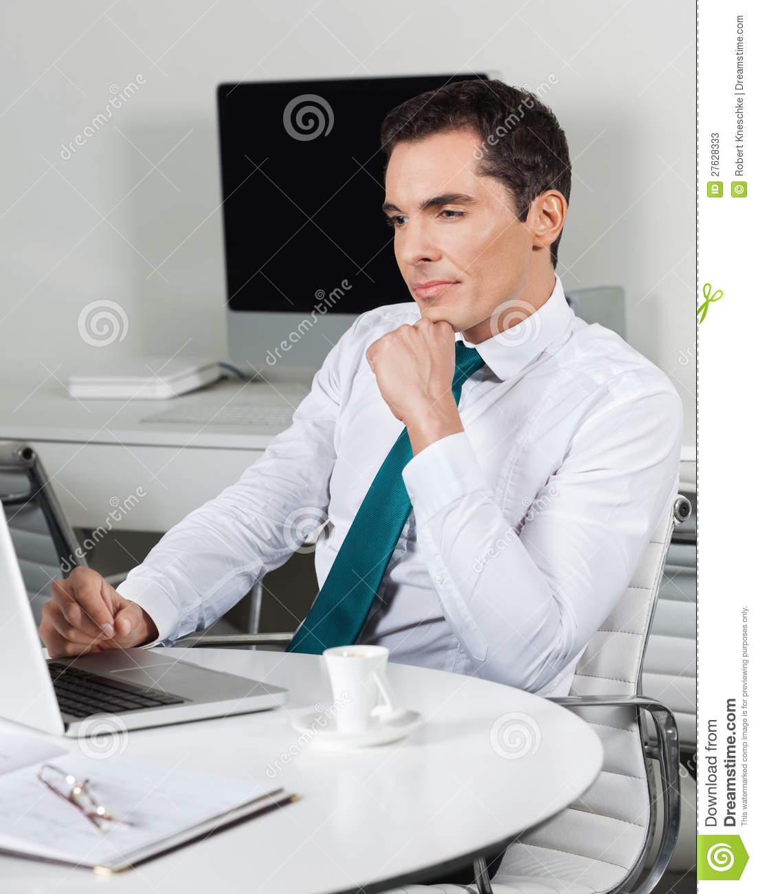 Manager With Laptop At Office Desk Stock Photos - Image ...