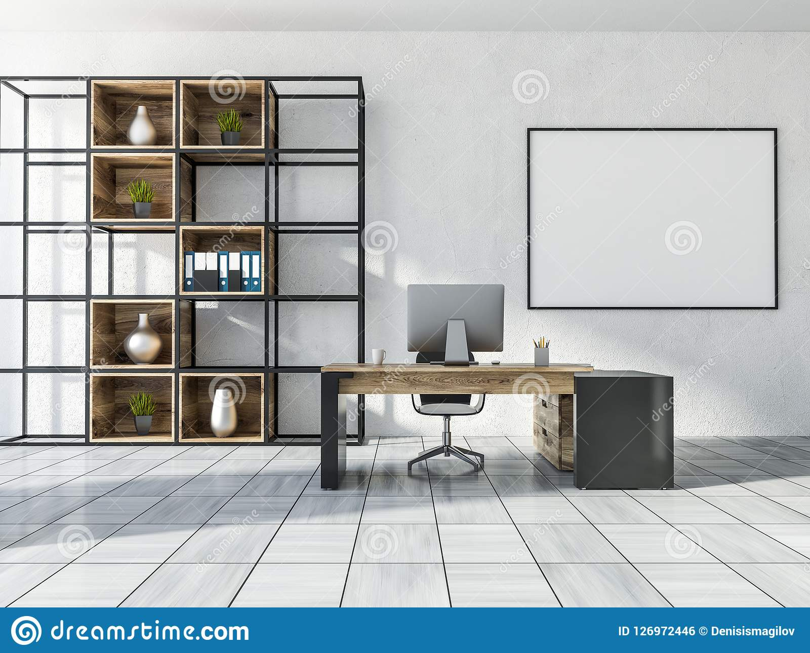 Manager Office Interior With Bookcase Banner Stock