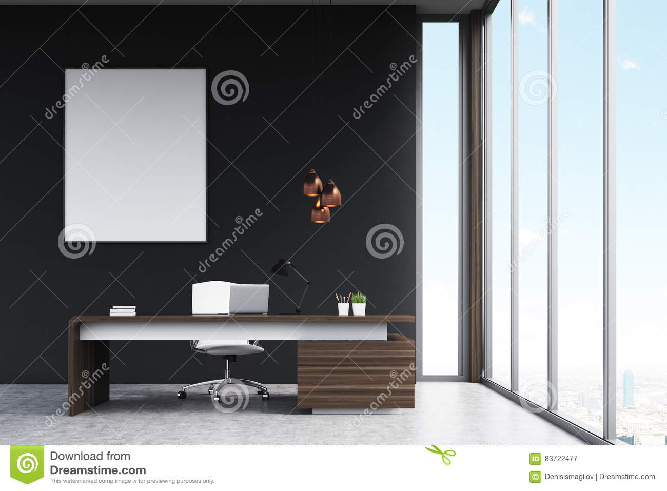 Manager`s Office With A Poster Stock Illustration
