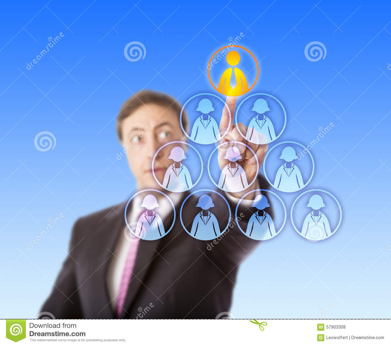 Manager Selecting A Male Worker Atop A Pyramid