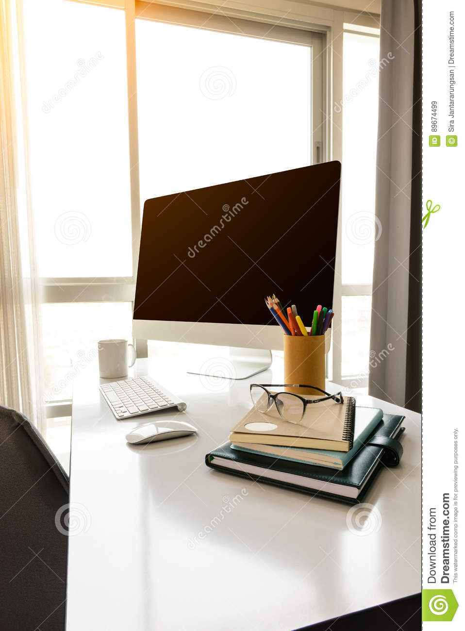 Manager Table With Desktop Computer And Business Notes ...