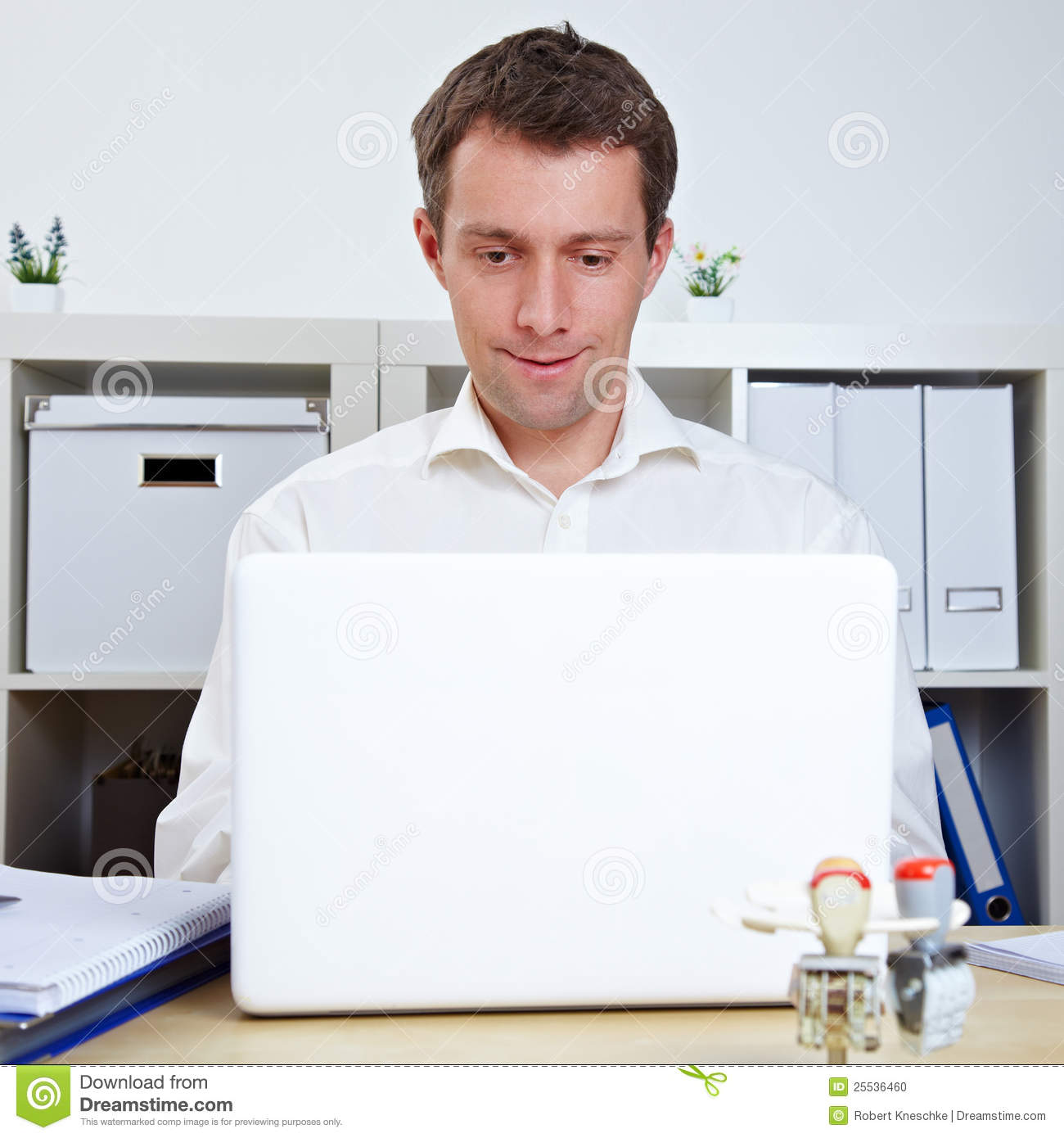 Manager Working At Laptop In Office Stock Photo - Image ...