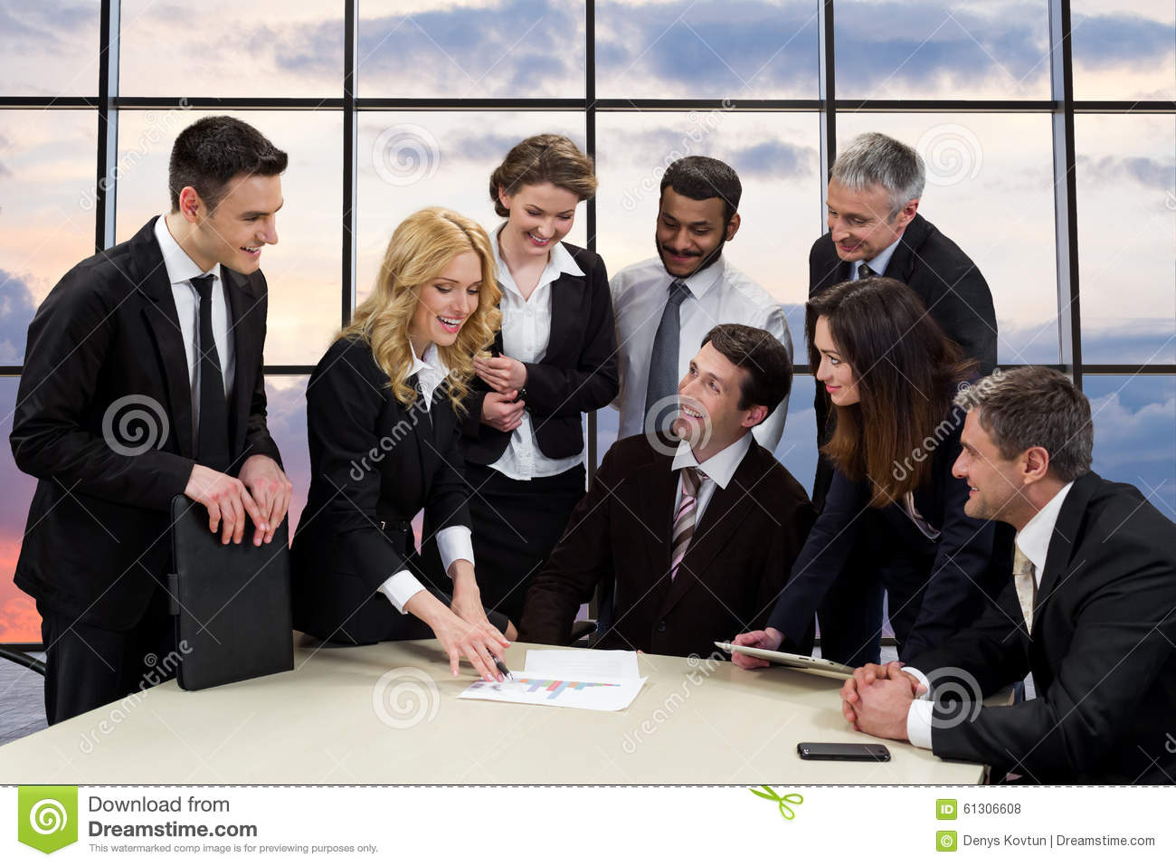 Discuss with manager stock photos