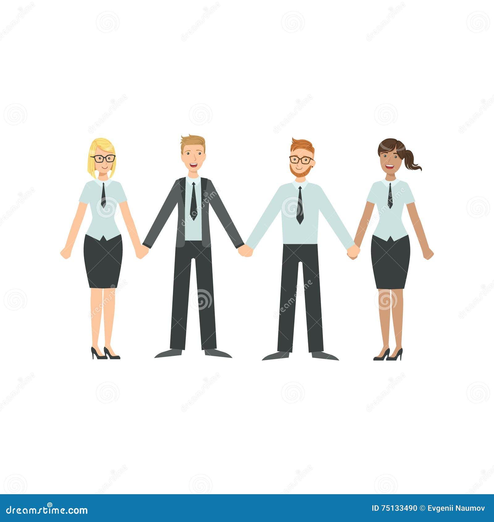 Managers Holding Hands Teamwork Illustration