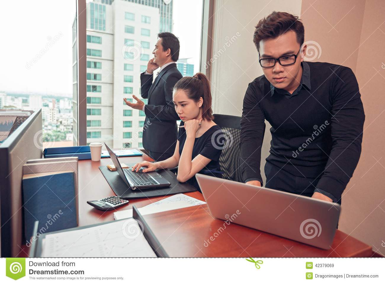 managers at work stock image image of calling people