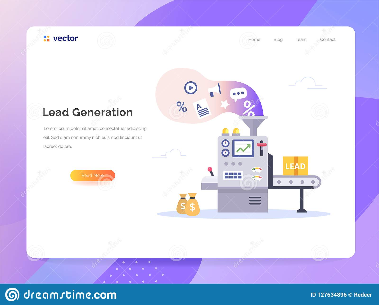 Managing sales vector concept in flat style. Conveyor generate leads. Marketing technology vector illustration.