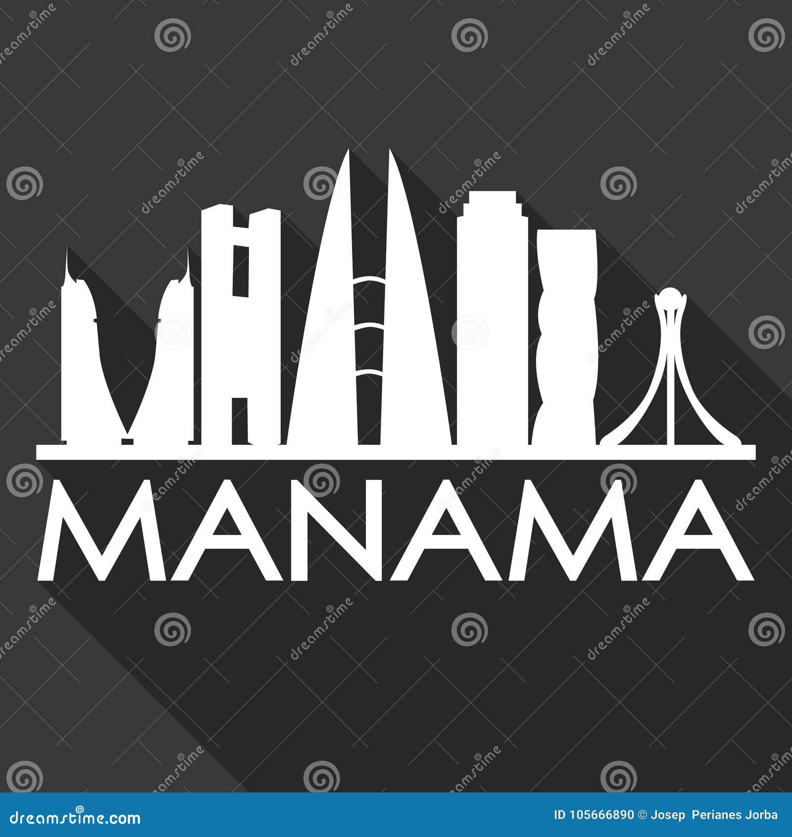 75b0cd1d0393 Manama Bahrain Asia Icon Vector Art Flat Shadow Design Skyline City ...