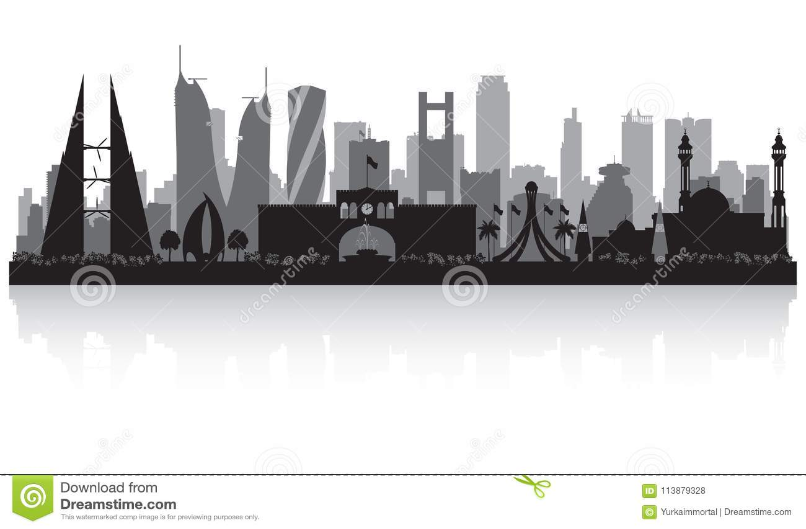5f8e92386162 Manama Bahrain City Skyline Silhouette Stock Vector - Illustration ...