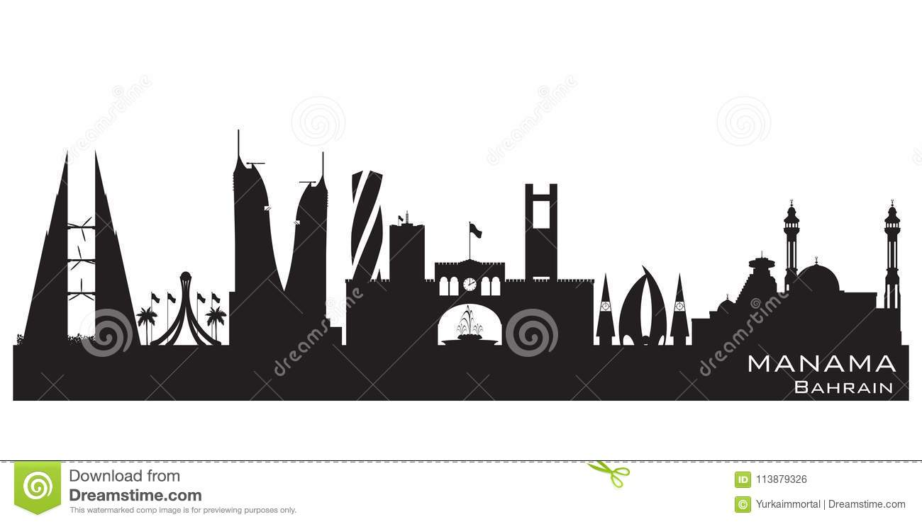 6f78a1fee900 Royalty-Free Vector. Manama Bahrain city skyline vector silhouette