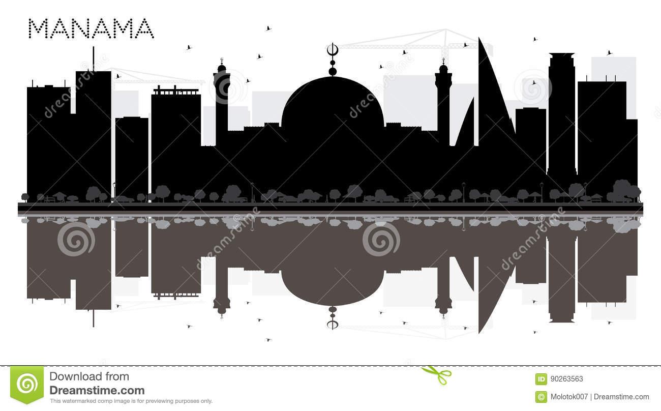 bcb3e67acd2d Royalty-Free Vector. Manama City skyline black and white silhouette with  reflections.