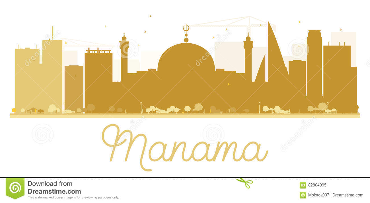 b6e1928042c5 Manama City Skyline Golden Silhouette. Stock Vector - Illustration ...