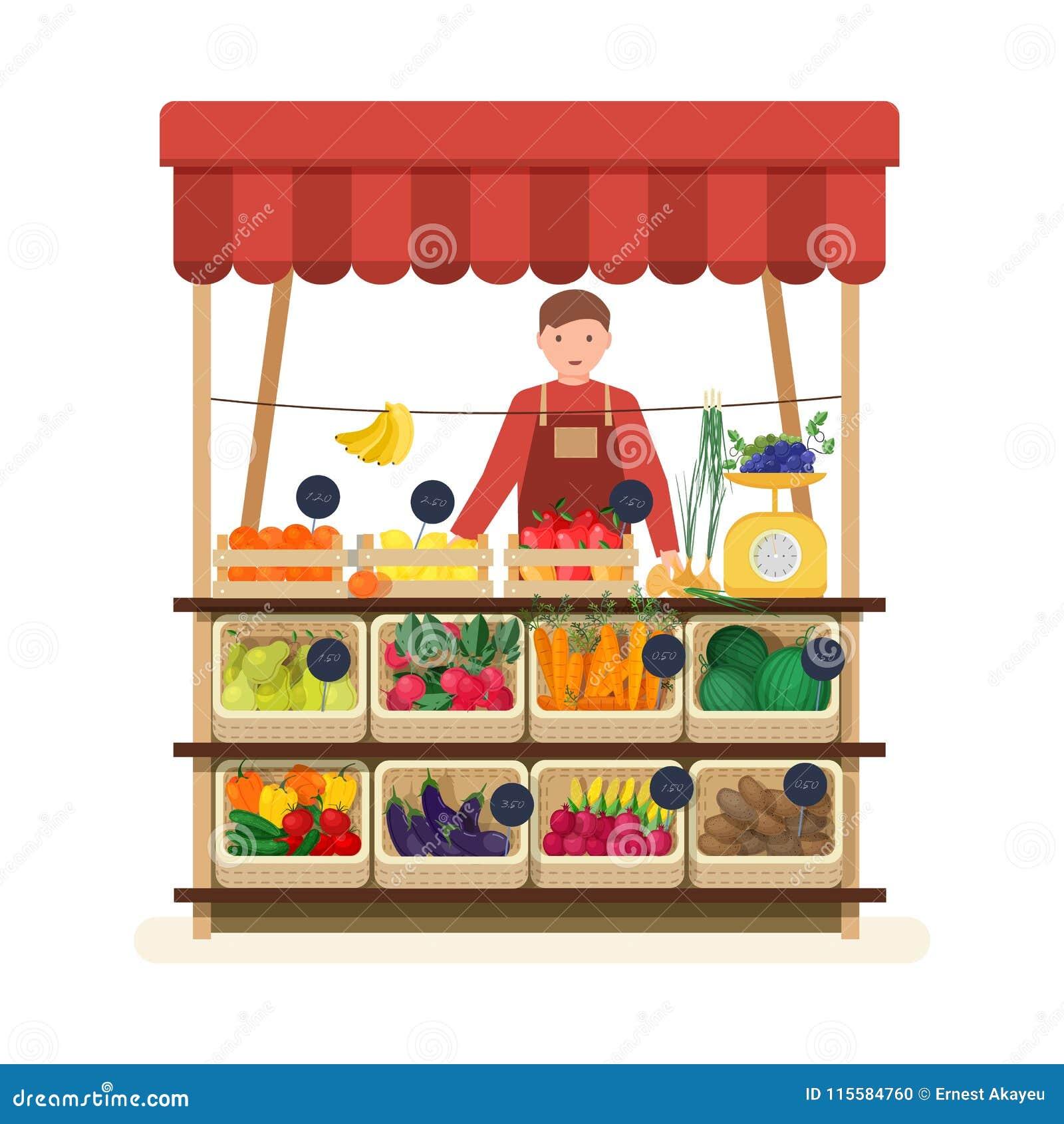 Mananseendet på räknaren av grönsakshandlare` s shoppar eller marknadsplatsen och säljafrukter och grönsaker Manlig säljare på st