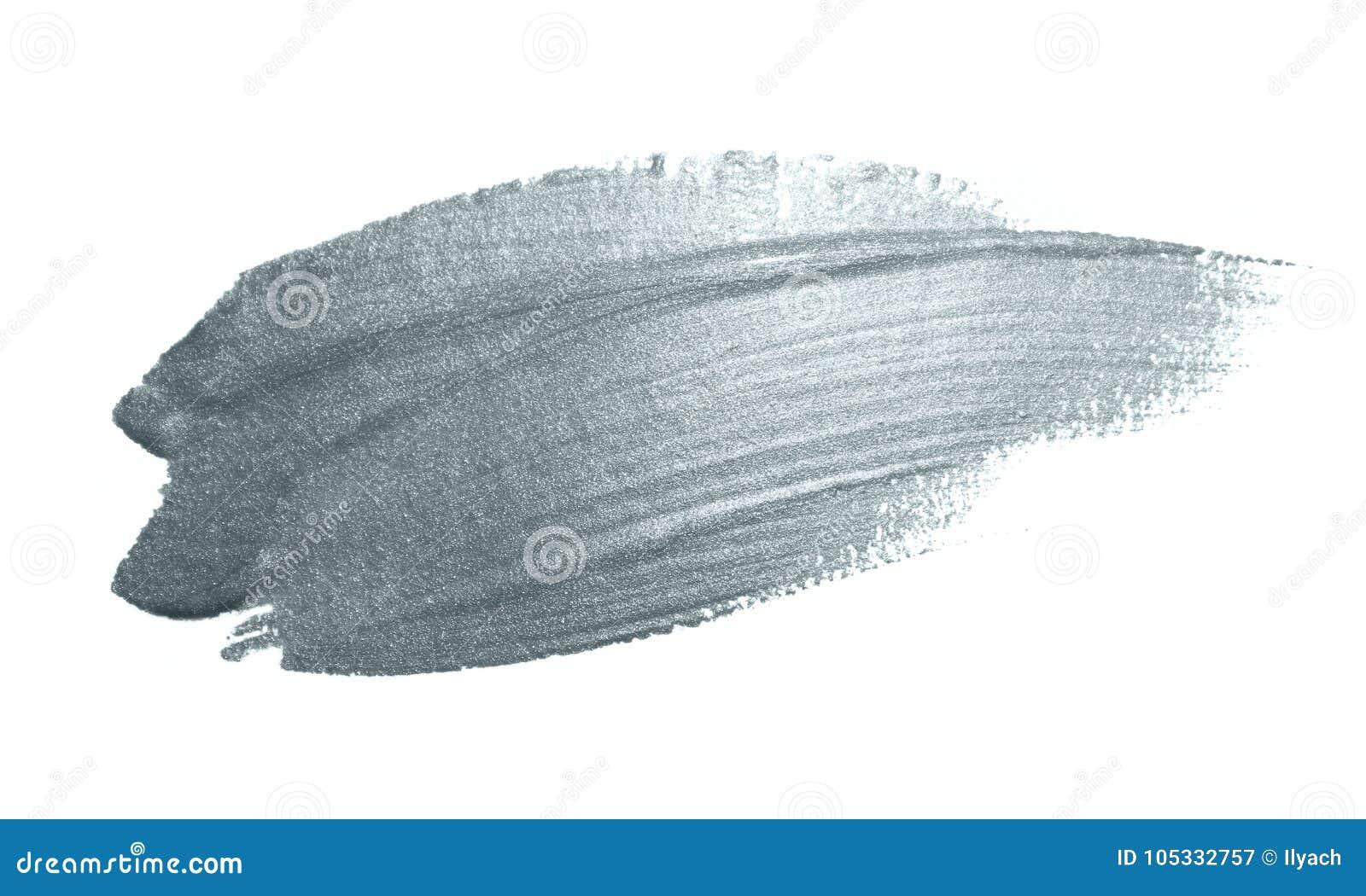 Mancha de brilho da solha da tinta do curso de prata da mancha ou do borrão da escova de pintura e do pincel abstrato com textura
