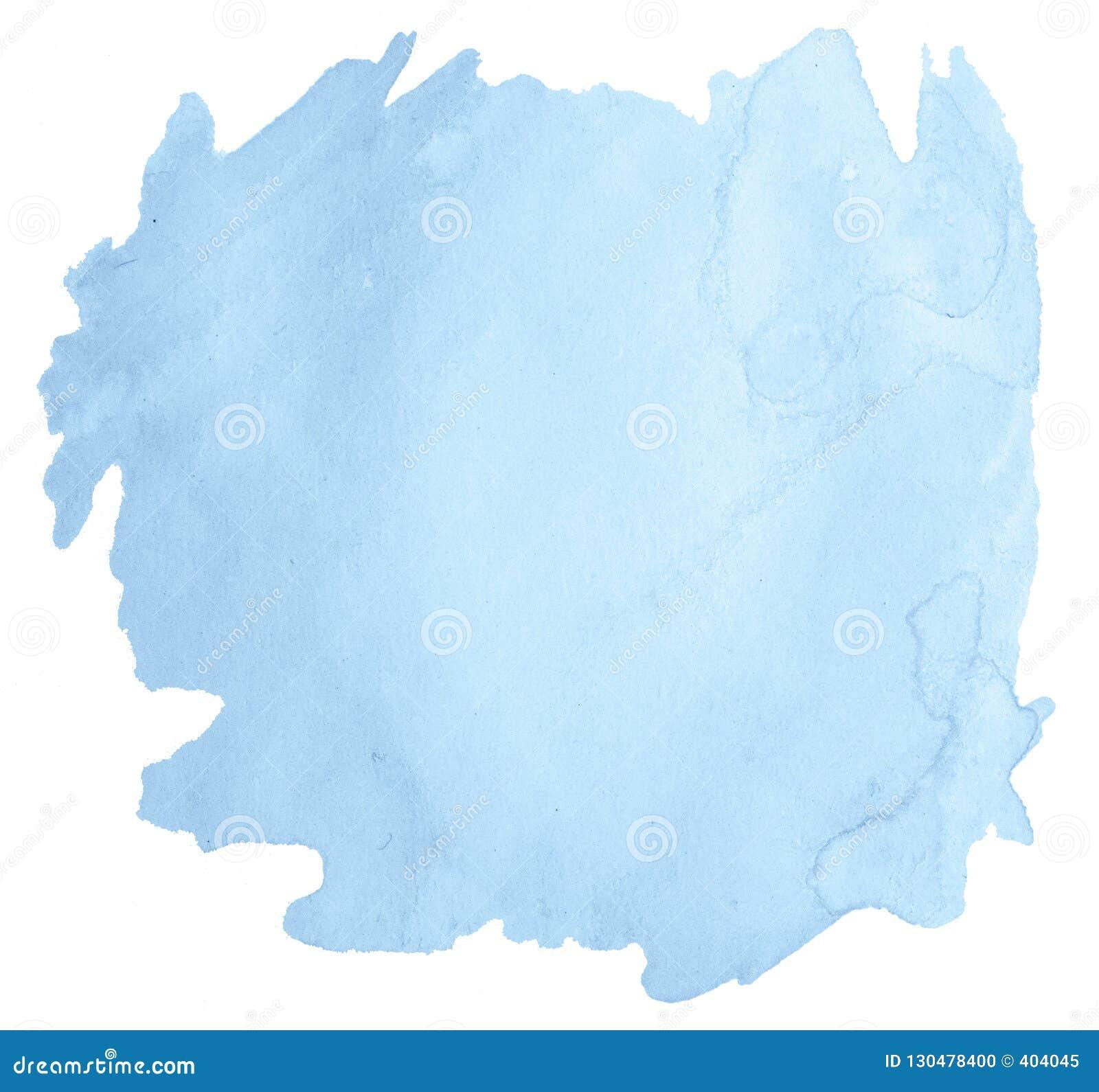 Mancha isolada desenhado à mão da lavagem da aquarela pastel azul