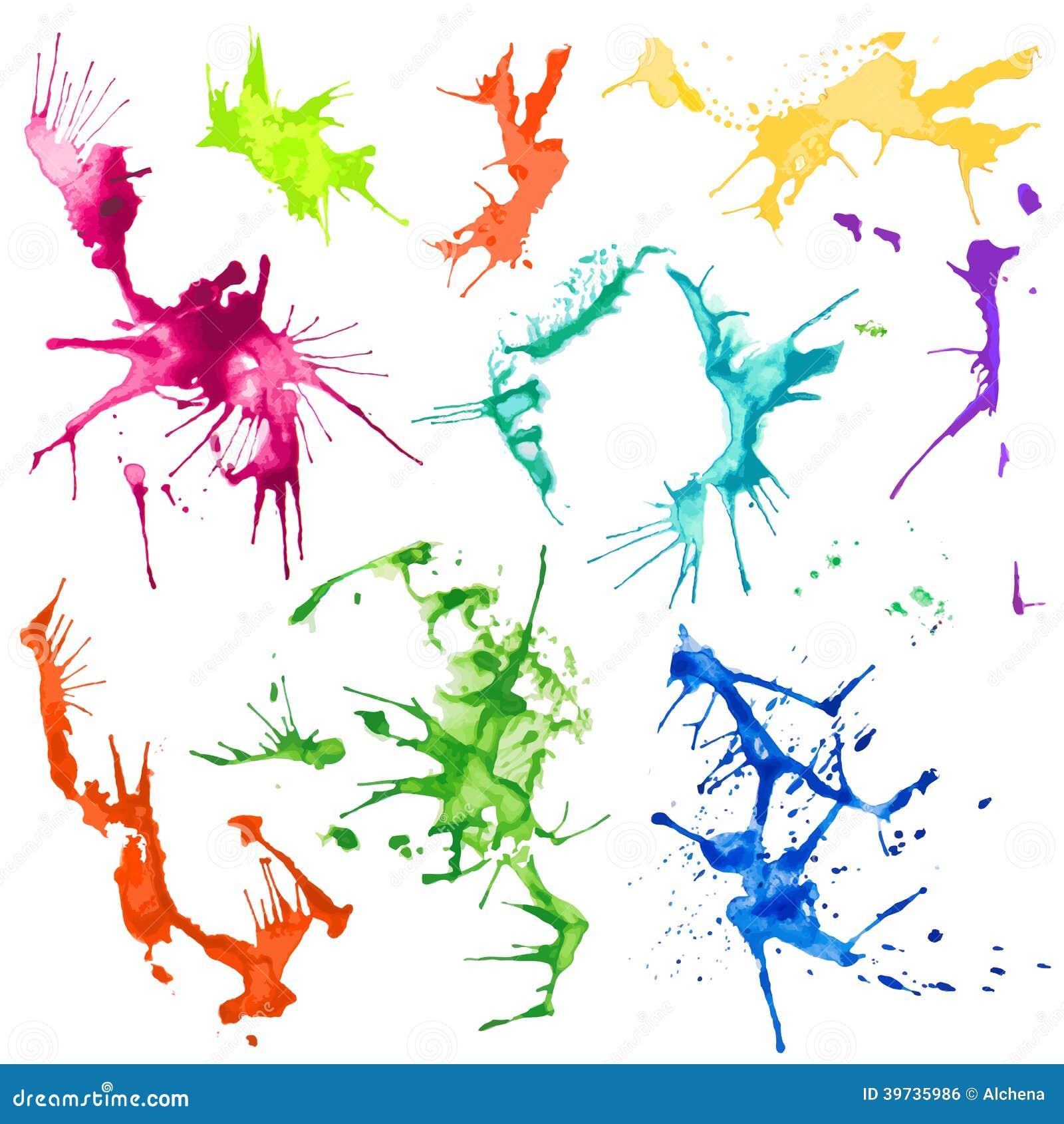 Manchas do respingo da cor de água do vetor