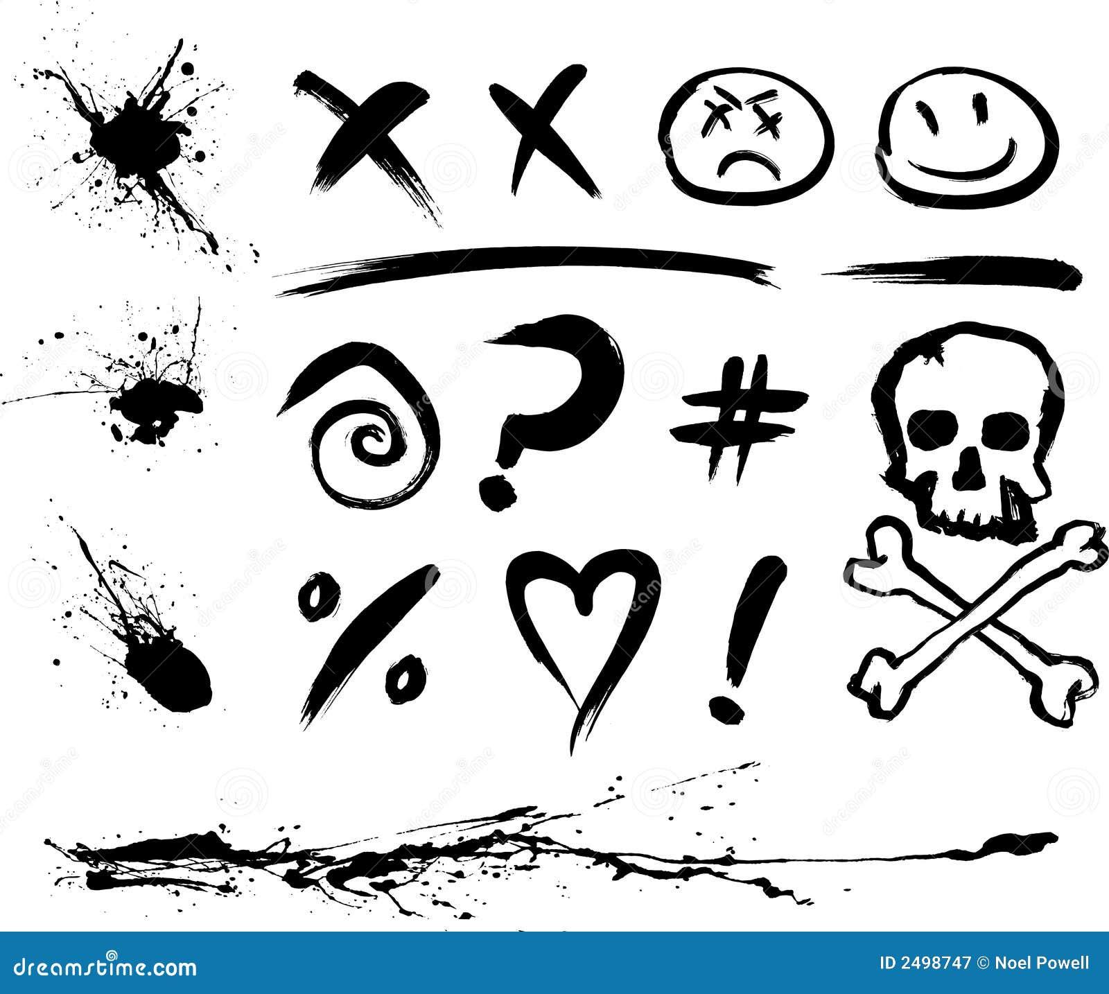 Manchas e símbolos da tinta
