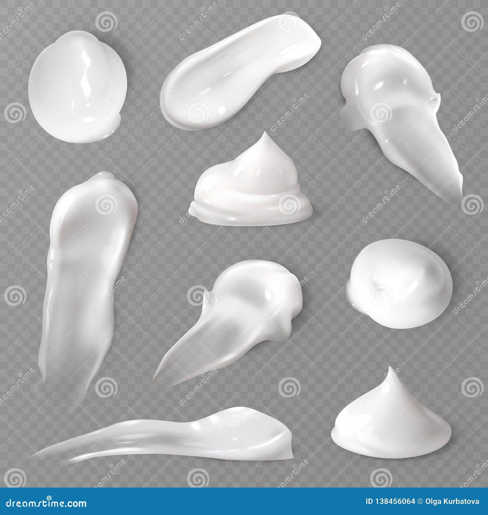 Manchas poner crema cosméticas realistas Textura lisa fresca gruesa del vector de la mancha del descenso del skincare de la crema
