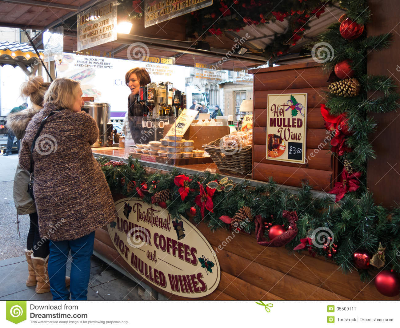 Mulled Wine Stall At Manchester Xmas Market Editorial
