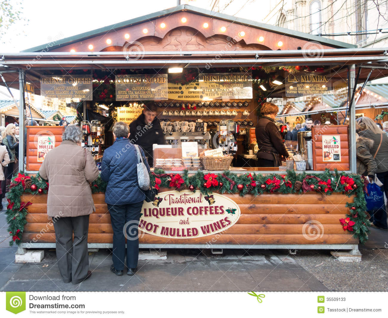 Stall Coffee And Wine At Xmas Market England Editorial
