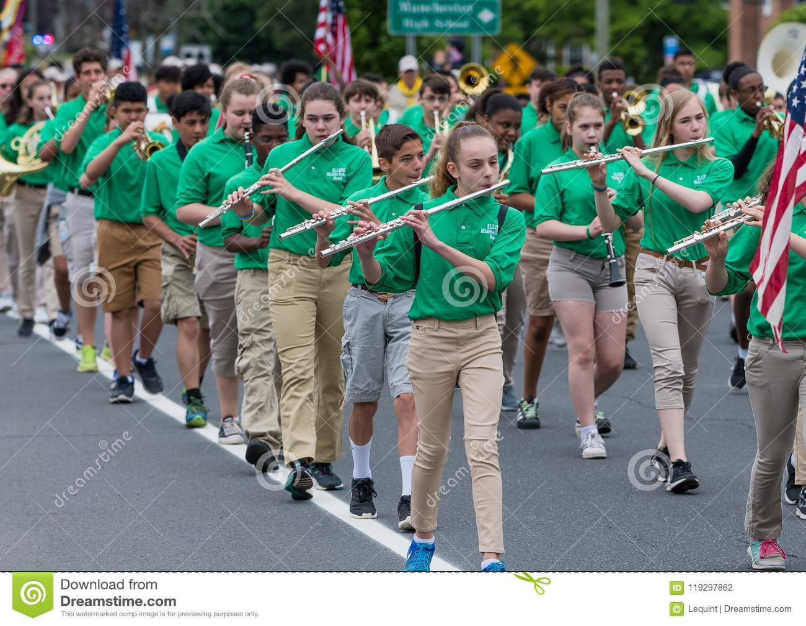 Manchester Connecticut High School Band In Green Uniform Editorial