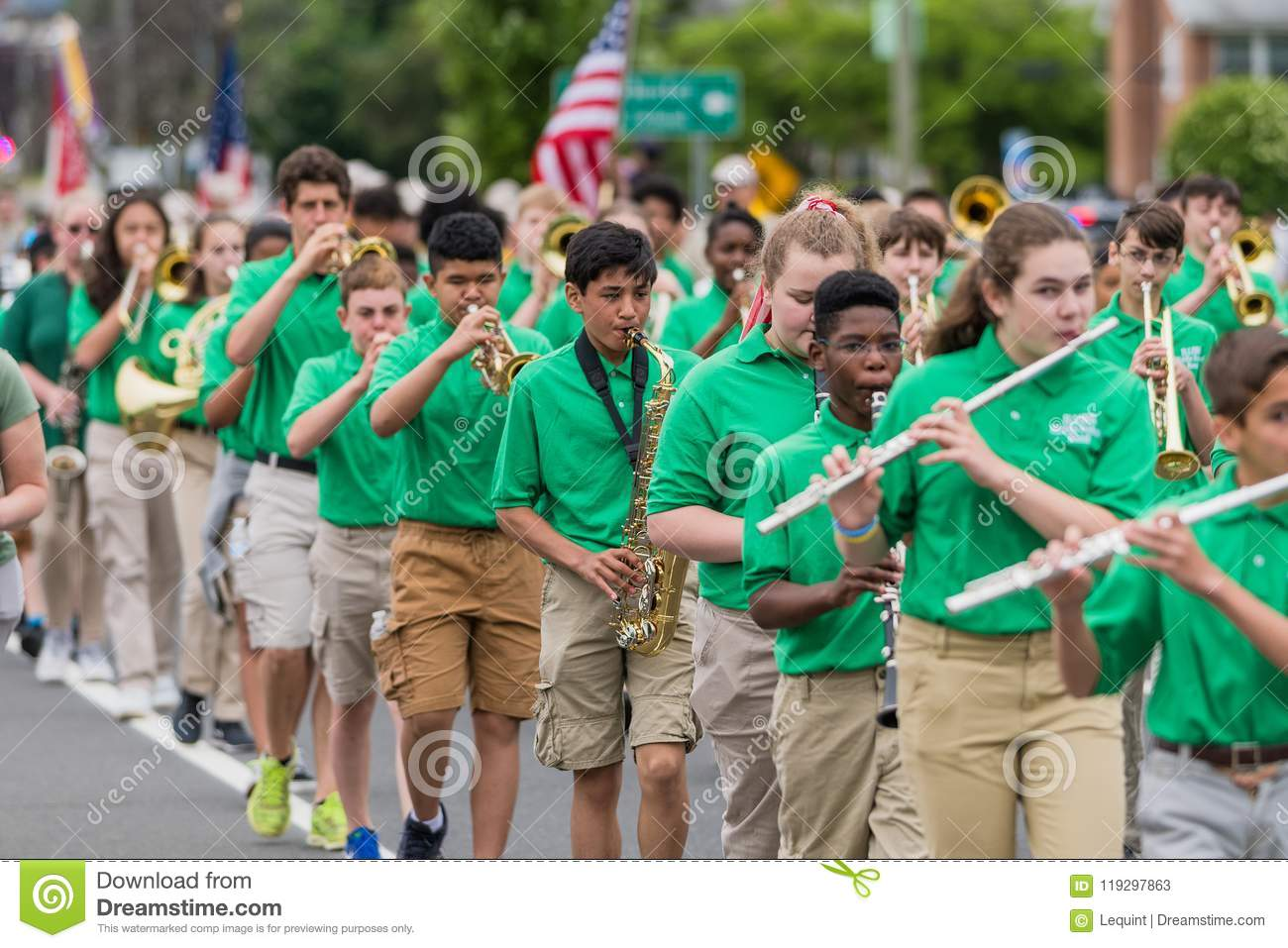Manchester Connecticut High School Band In Green Uniform Editorial