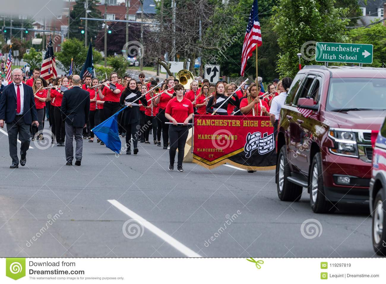 Manchester Connecticut High School Band In Red Uniform Editorial