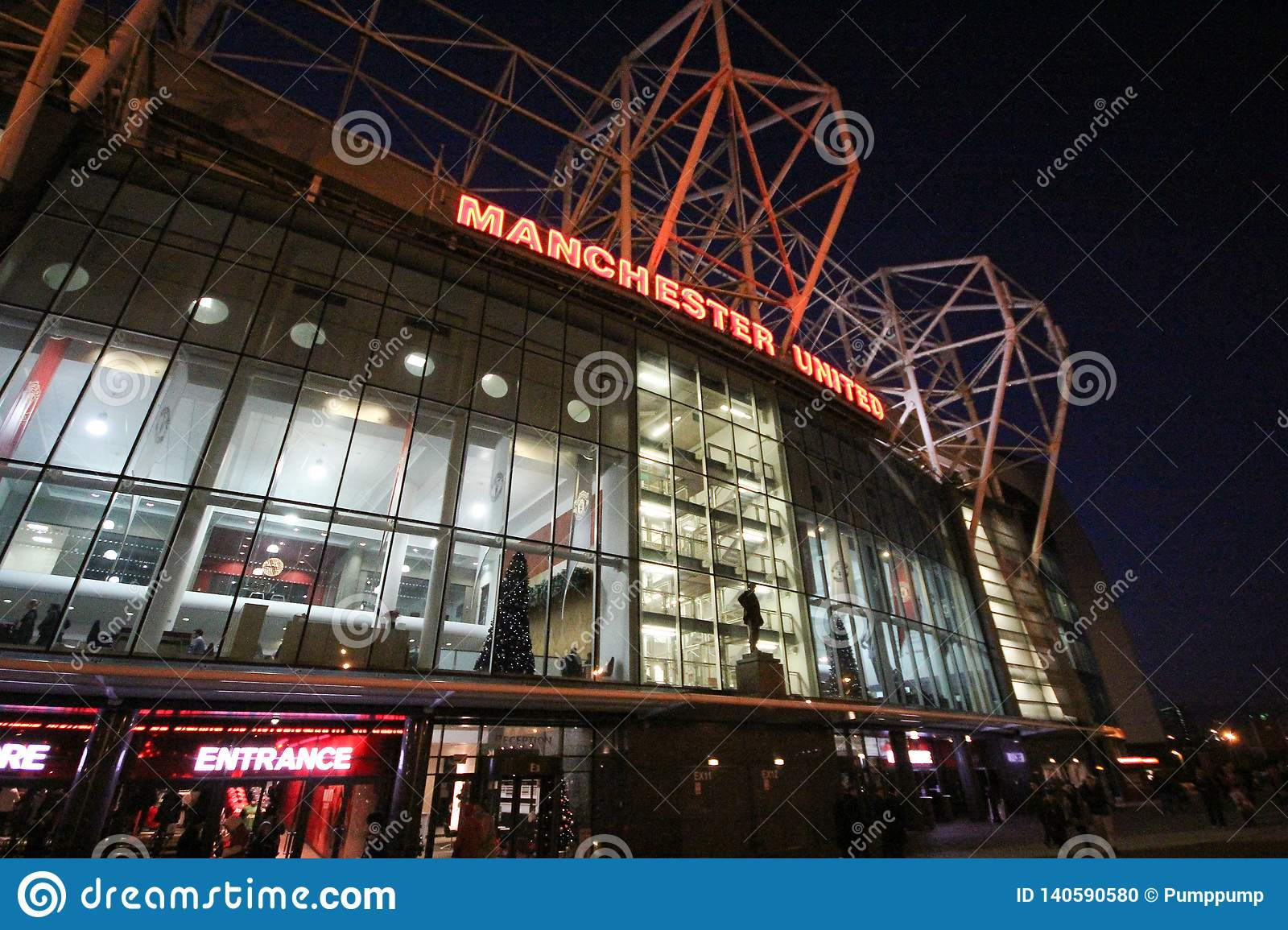 manchester england december 5 2013 in front of the manchester united stadium or old trafford stadium is most famous editorial image image of famous editorial 140590580 https www dreamstime com manchester england december front united stadium old trafford most famous football image140590580