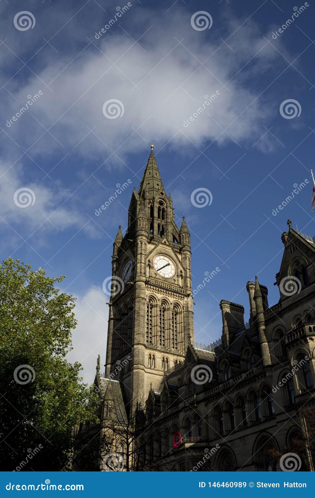 Manchester, Groter Manchester, het UK, Oktober 2013, het Stadhuis van Manchester