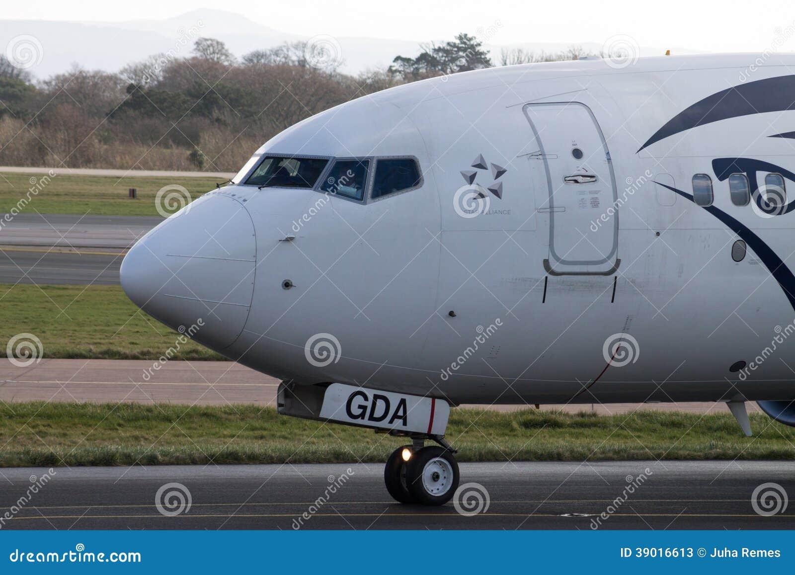 Manchester, United Kingdom - February 16, 2014: Egyptair Boeing