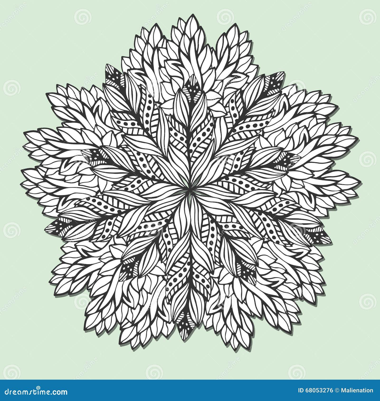 Mandala única Con Las Hojas Zentangle Redondo Para Las Páginas Del ...
