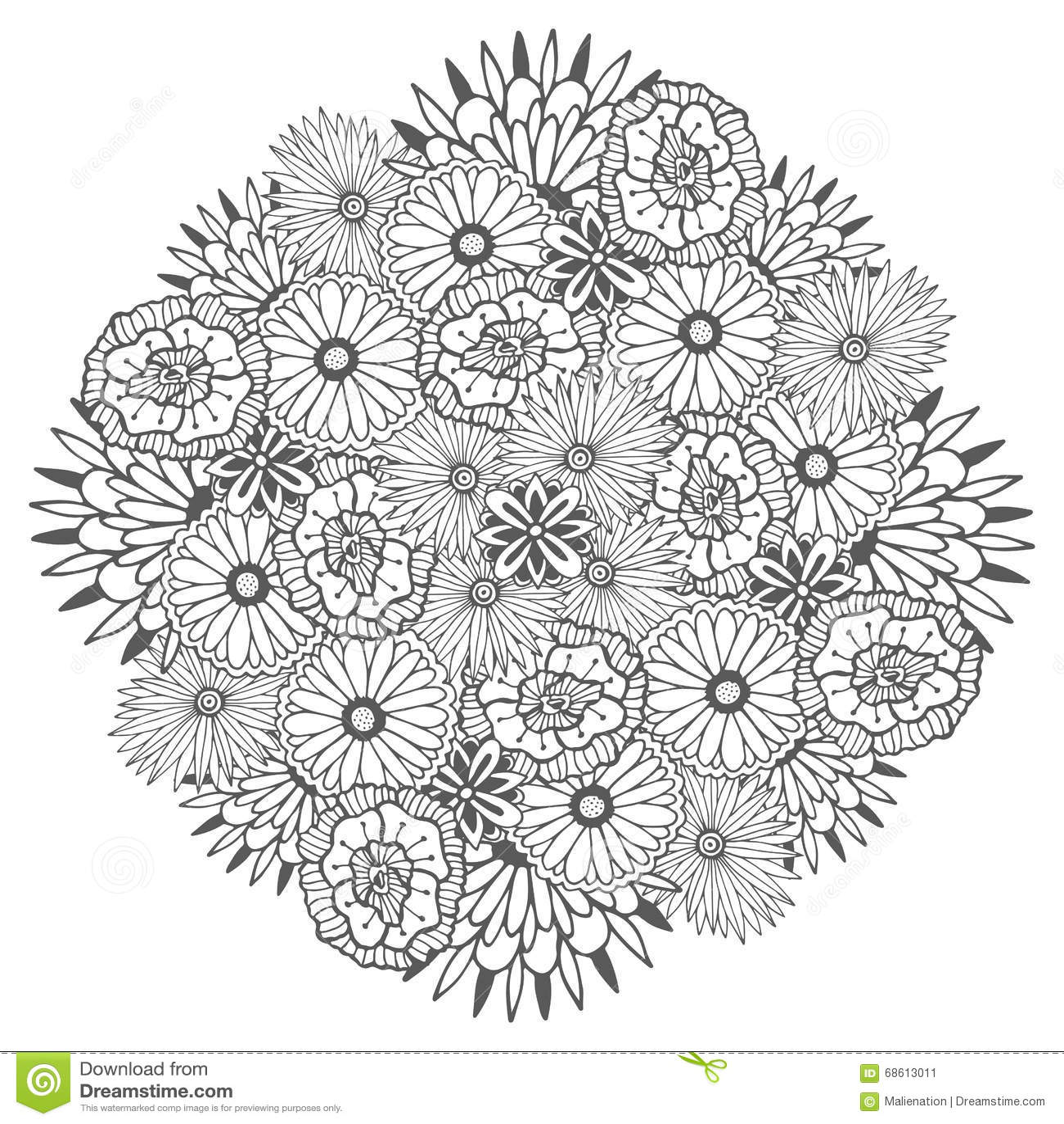 Mandala Unica Del Vector Con Las Flores Zentangle Floral Redondo