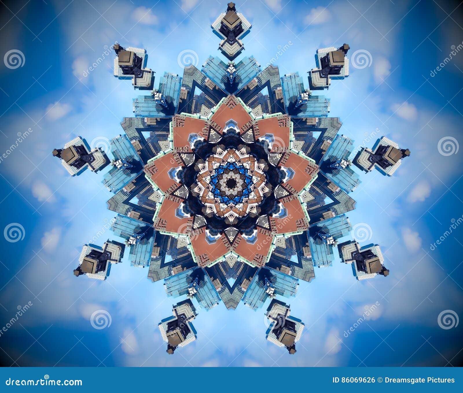 Mandala abstracta del espejo de la ciudad