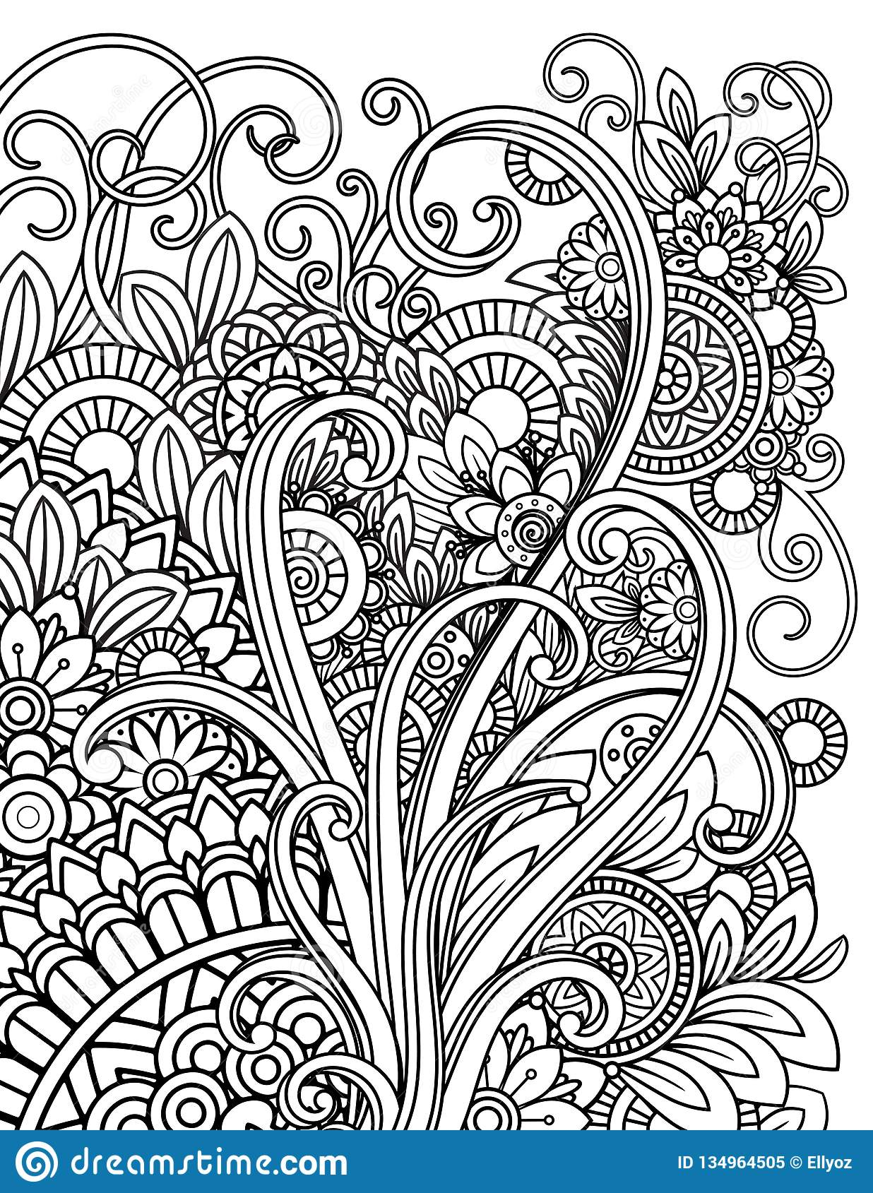 Mandala Adult Coloring Pages Stock Vector Illustration Of Page Doodle 134964505