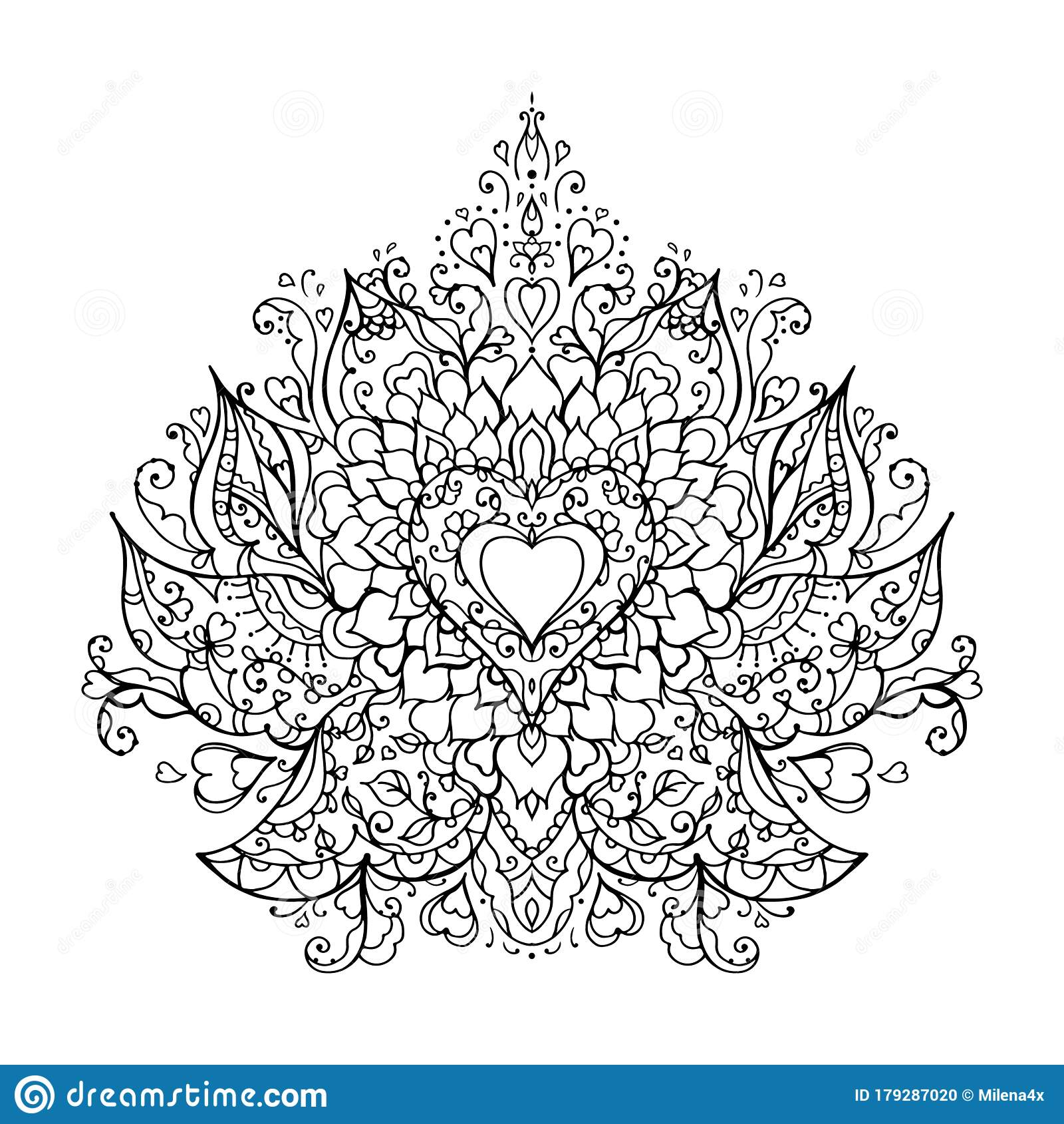 Mandala Art For Meditation Color Therapy Adult Coloring Pages Stress Relief And Relaxation Heart For Valentine S Day Stock Vector Illustration Of Banner Funky 179287020