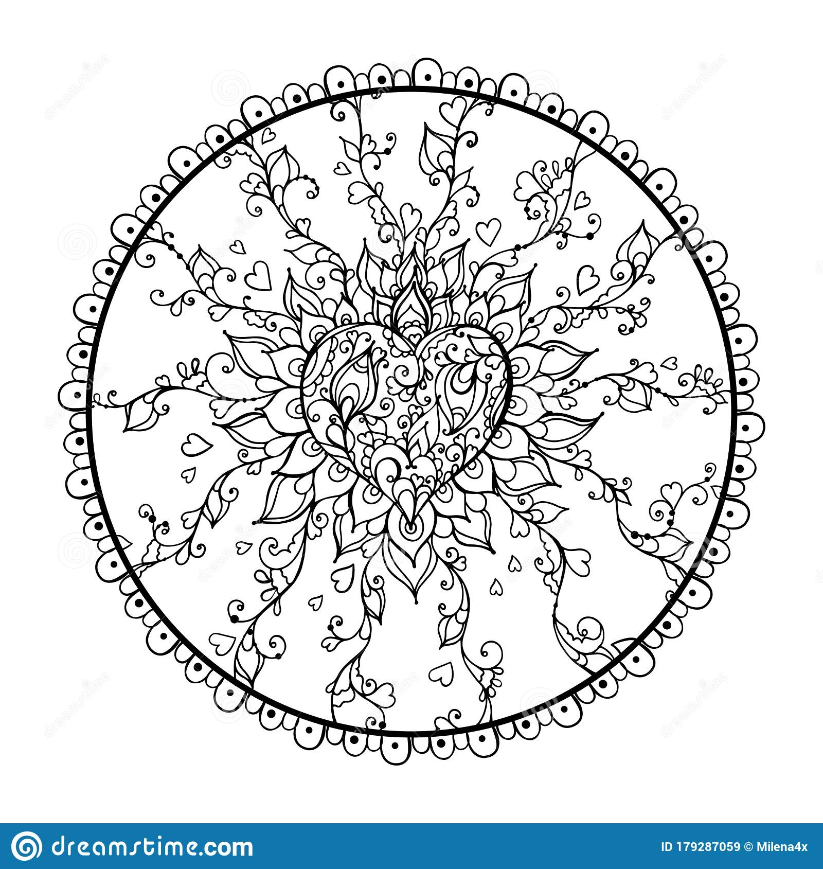 Mandala Art For Meditation Color Therapy Adult Coloring Pages Stress Relief And Relaxation Heart For Valentine S Day Stock Vector Illustration Of Happy Frame 179287059