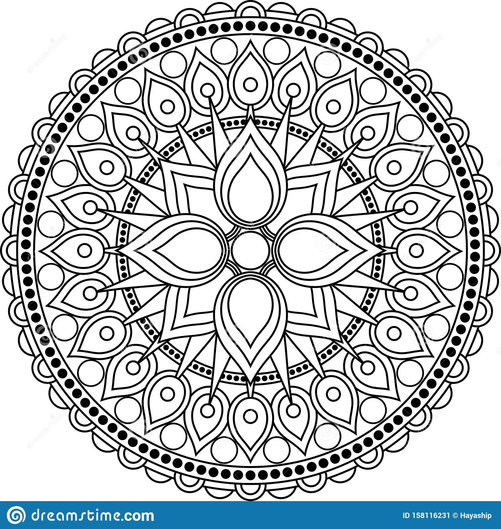 Mandala Art Therapy Coloring Page Stock Vector Illustration Of Graphic Blank 158116231