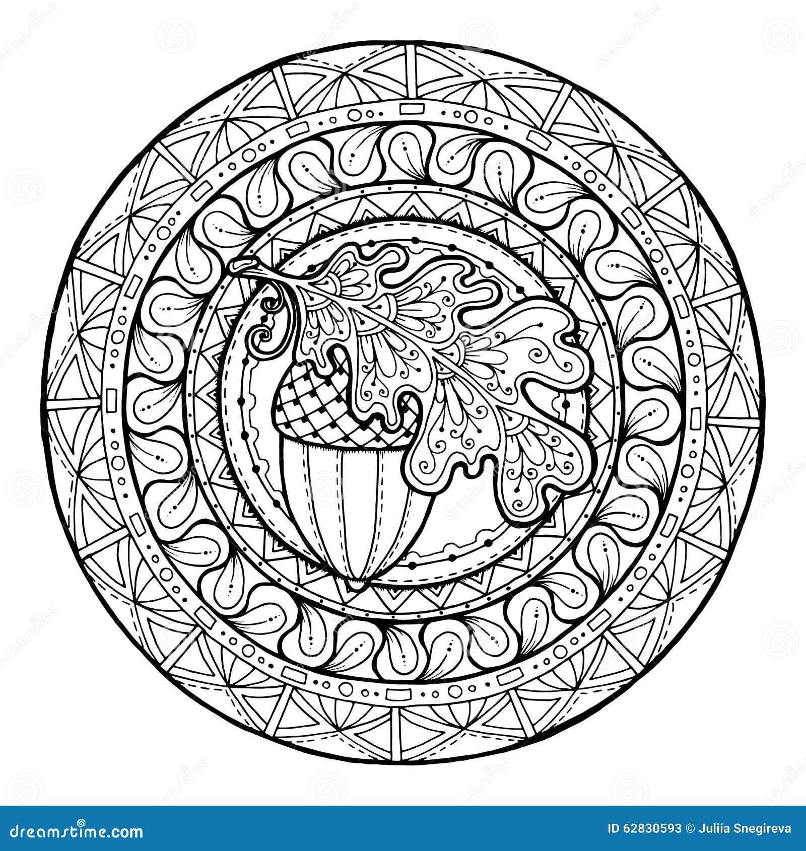 Mandala autumn oak leaf ornament stock vector for Fall mandala coloring pages