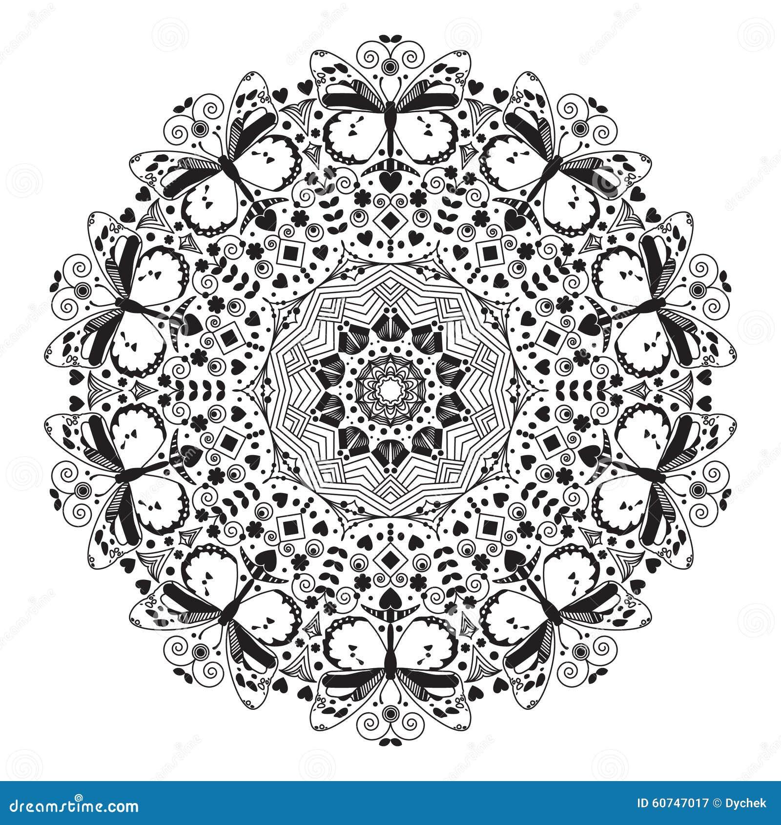 Mandala avec un papillon illustration de vecteur. Illustration du religion - 60747017
