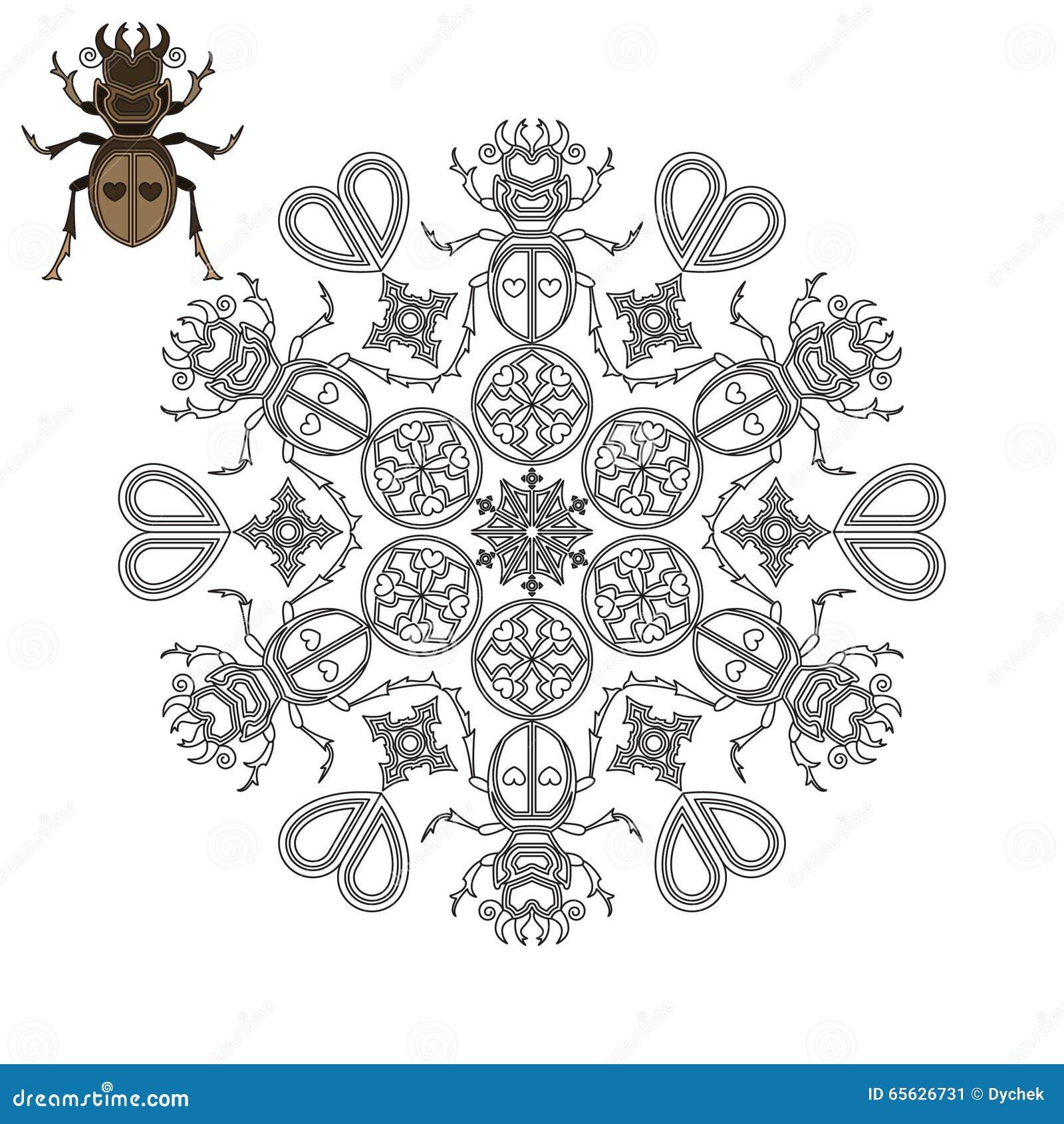 Mandala avec un scarabée, des coeurs et des formes géométriques