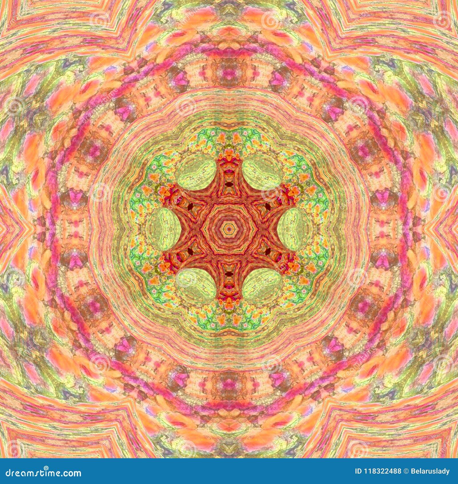 Mandala azjata stylu Medytacyjny arabesk w menchii i pomarańcze palu barwi