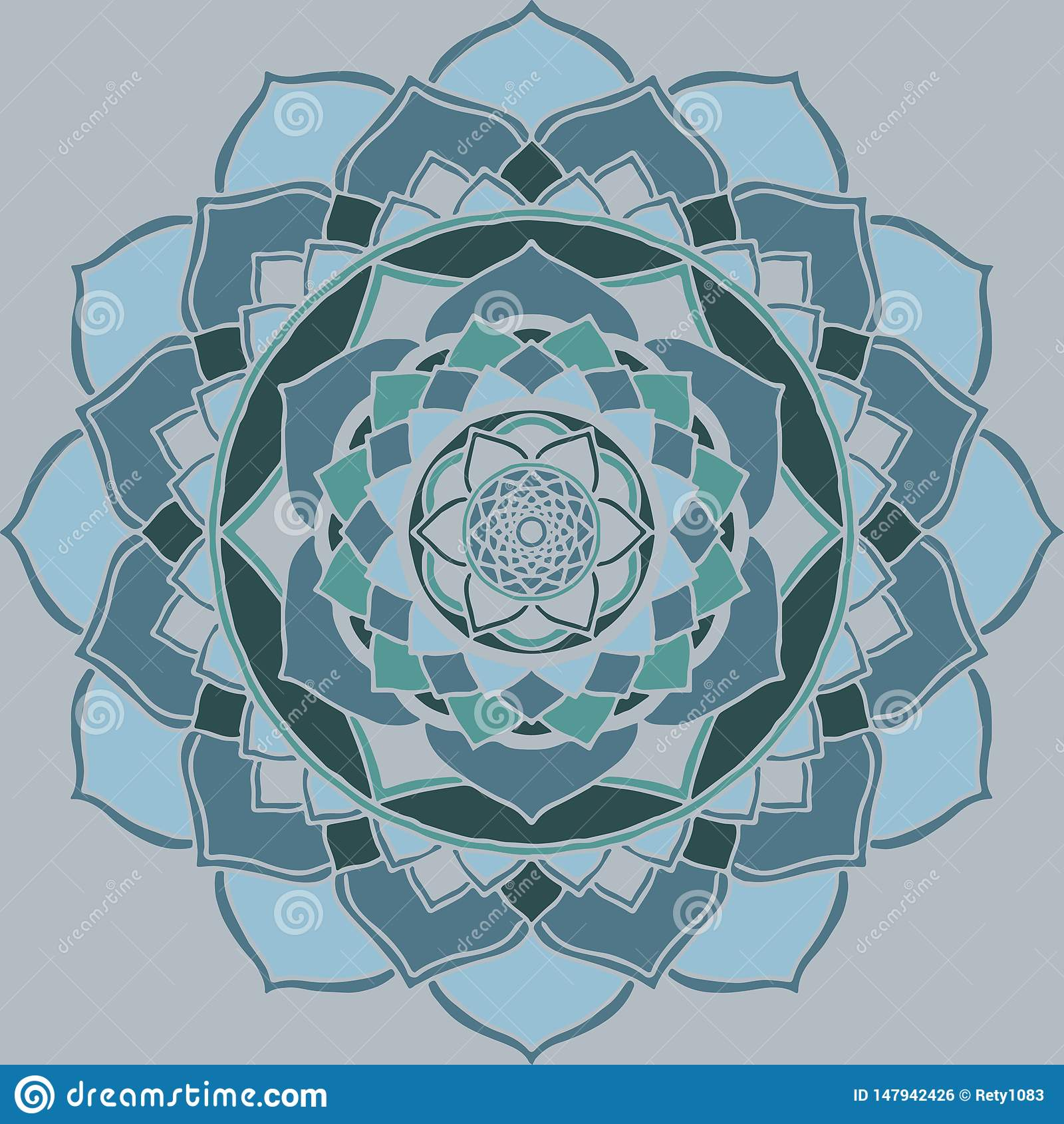 Mandala azul clara, ornamento oriental verde guetzal